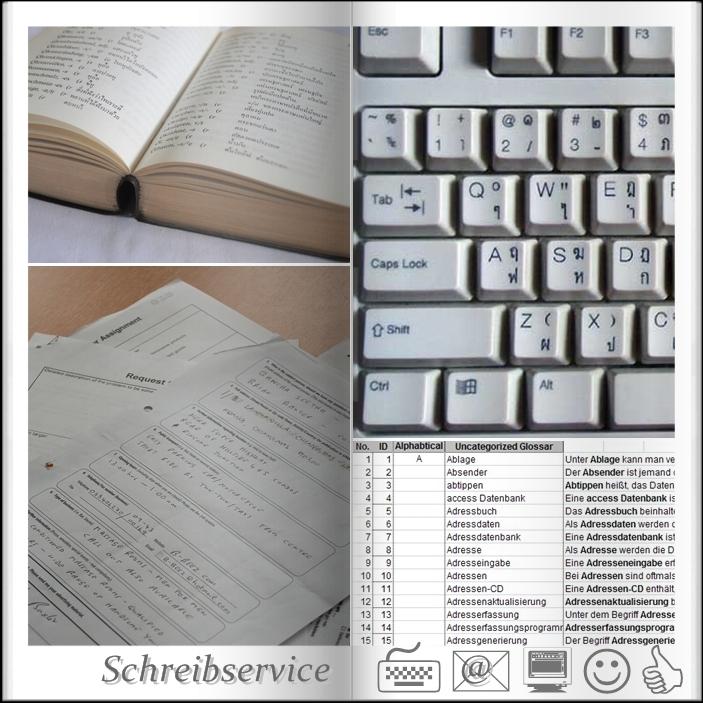 Büroservice, Schreibbüro Schreibarbeiten - Adresseingabe