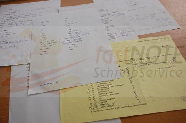 Handschriftliche Aufzeichnungen, Notizen, Mitschreifen abtippen