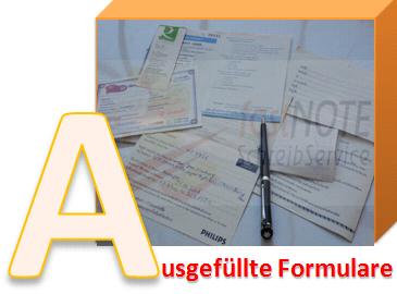 fastNOTE SchreibService Glossar – Ausgefüllte Formulare