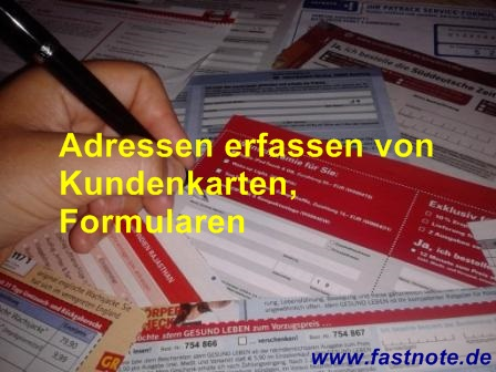 Adresserfassung, Adressen erfassen von Kundenkarten