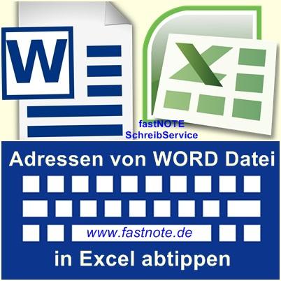 Adressen von WORD Datei in Excel abtippen