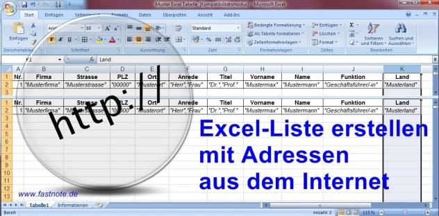 Excel-Liste erstellen mit Adressen aus dem Internet