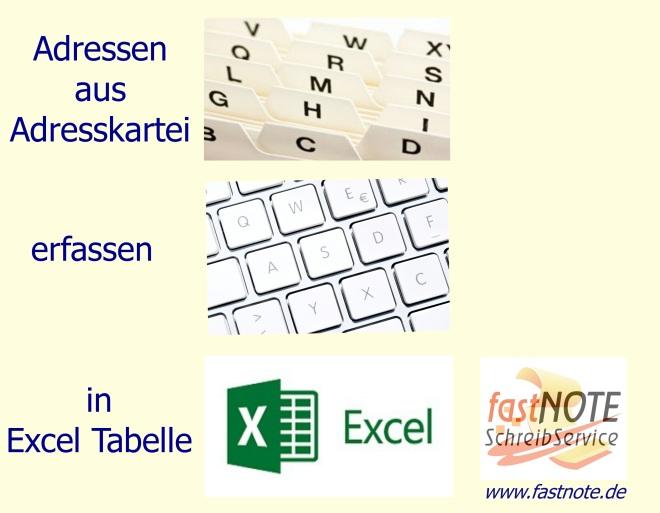 Adressen aus Adresskartei in Excel Tabelle erfassen