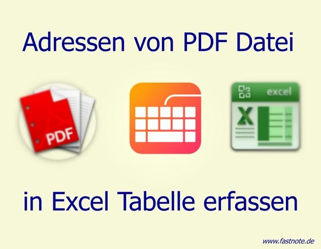 Adressen von PDF Datei in Excel Tabelle erfassen