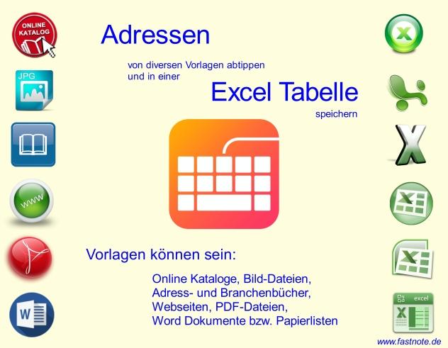 Von diversen Vorlagen Adressen abtippen und in Excel speichern