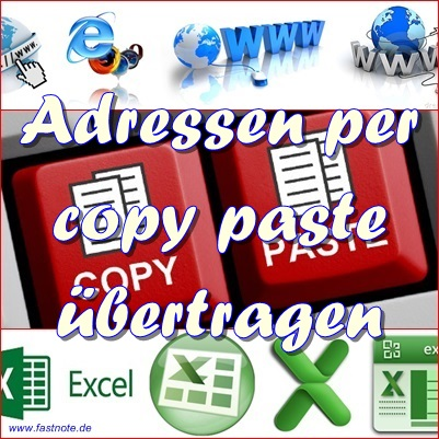 Adressen per copy paste in Excel eingeben