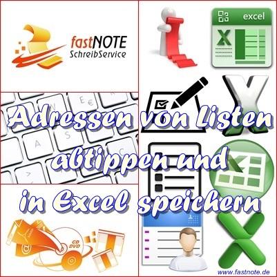 Adressen Von Listen Abtippen In Excel Tabelle Manuelle