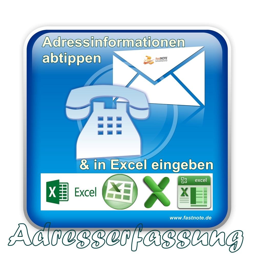 15.02.2017 Adressinformationen abtippen und in Excel eingeben fastNOTE SchreibService