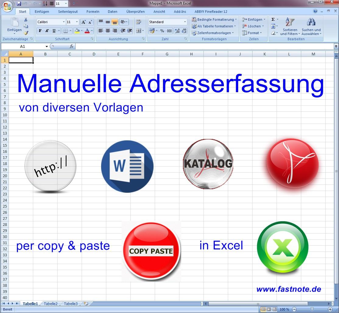 manuelle Adresseingabe in Excel von Vorlagen