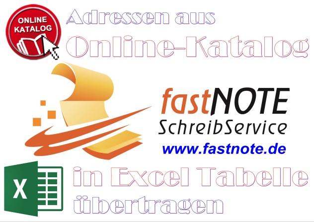 Adressen aus einem Online-Katalog in eine Excel Tabelle übertragen