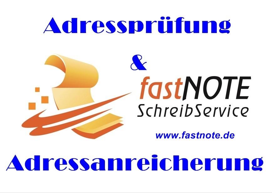 fastNOTE SchreibService Adressprüfung und Adressanreicherung
